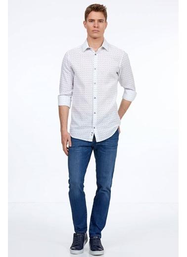 Hemington Puantiyeli Uzun Kollu Gömlek Mavi